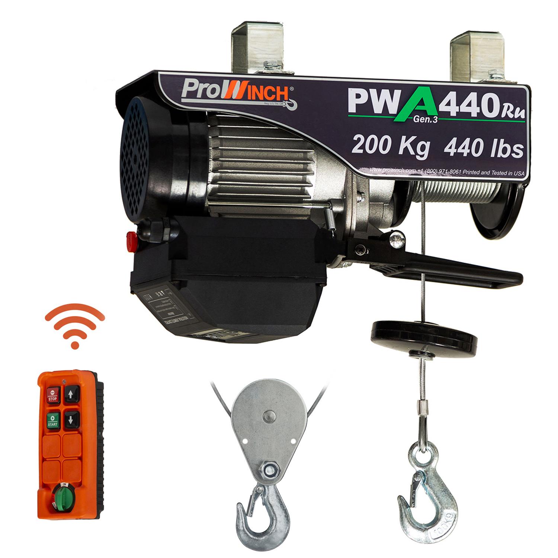 ProWinch 440 Lb Electric Wire Rope Hoist 38 ft Wireless w// Power Trolley 110V